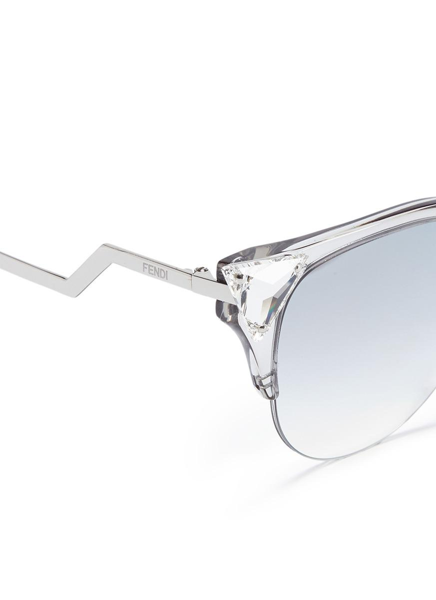074aabb59f8f Lyst - Fendi  iridia  Crystal Corner Acetate Cat Eye Sunglasses in ...