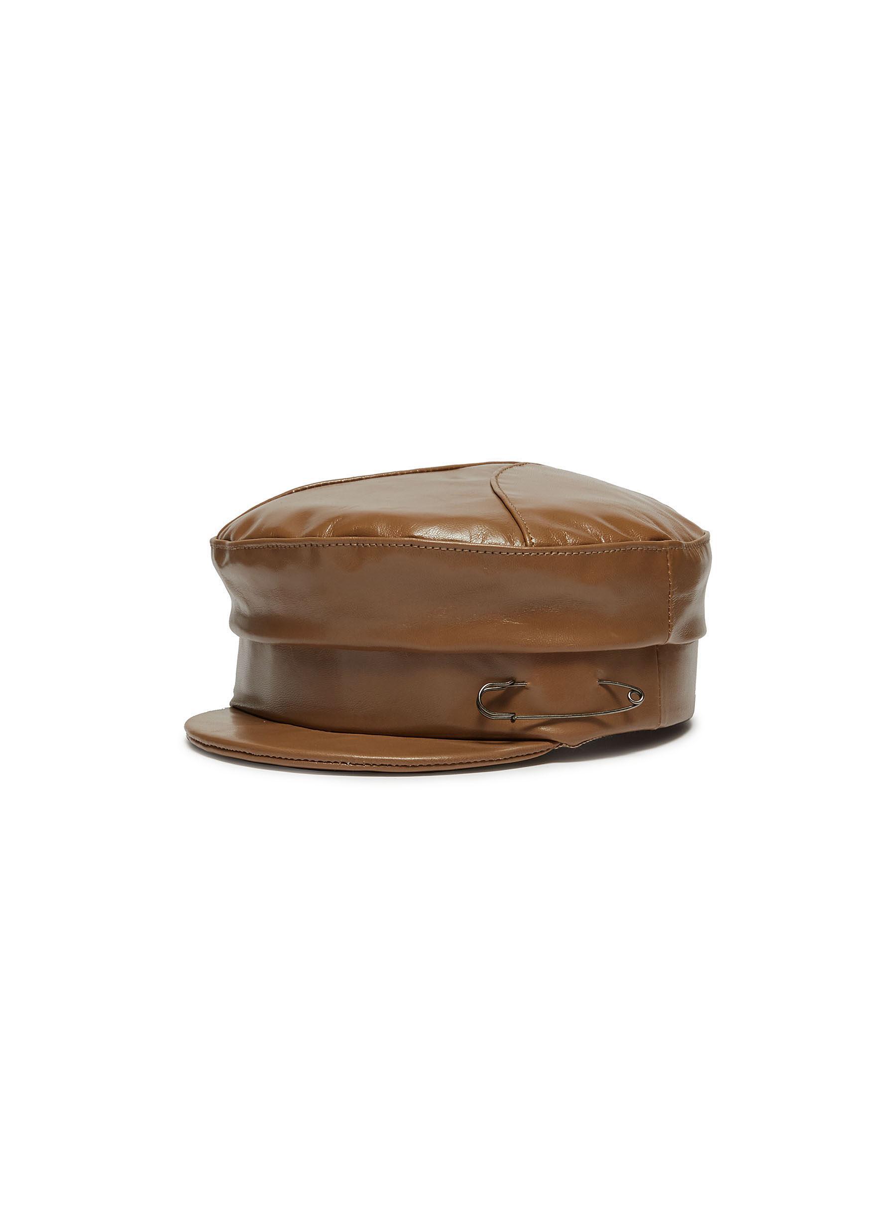Lyst - Gigi Burris Millinery  georgie  Leather Newsboy Cap in Brown 40ef6e730df6