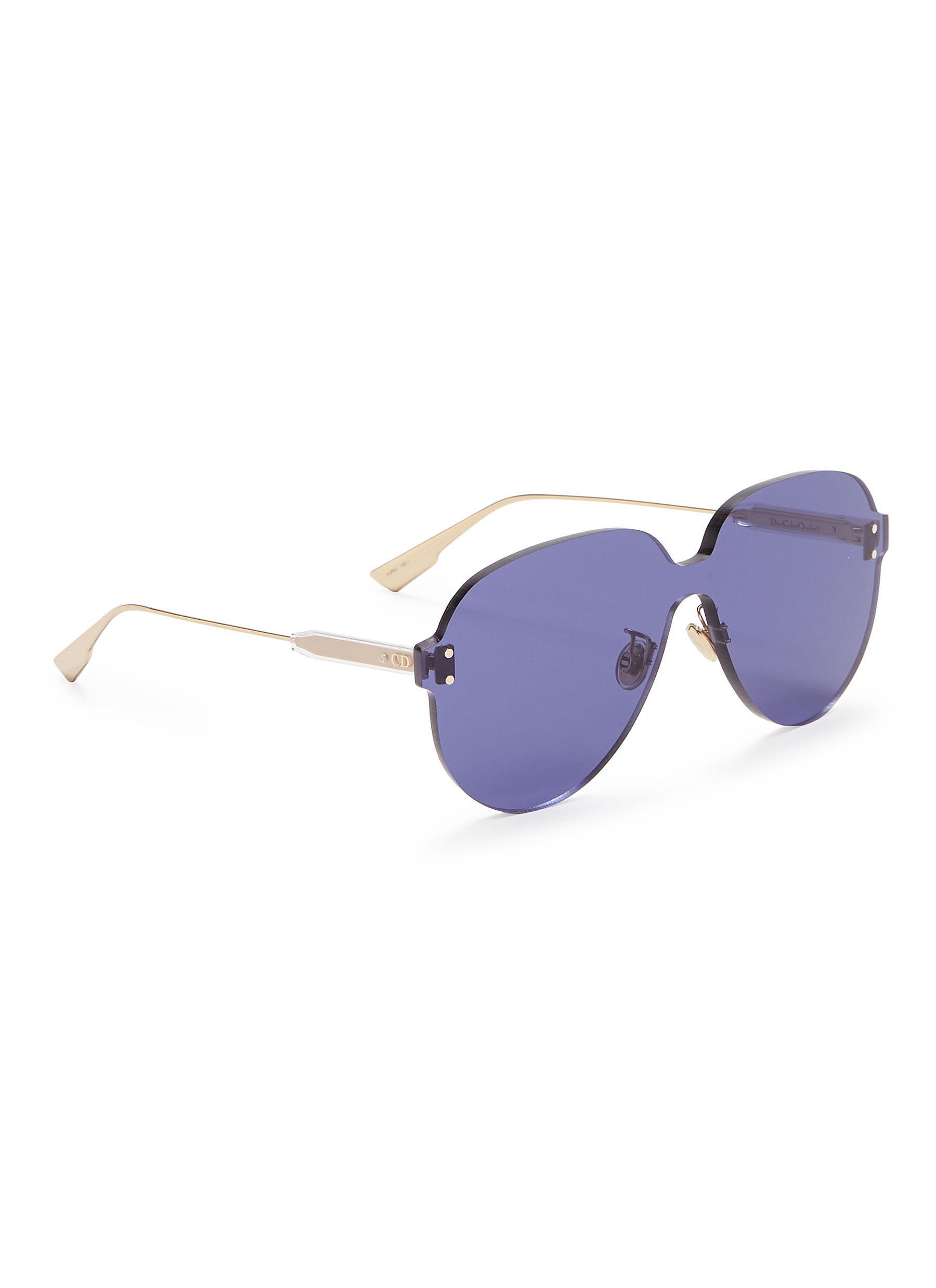 27418294b2d Lyst - Dior   Color Quake 3  Rimless Aviator Sunglasses in Blue ...
