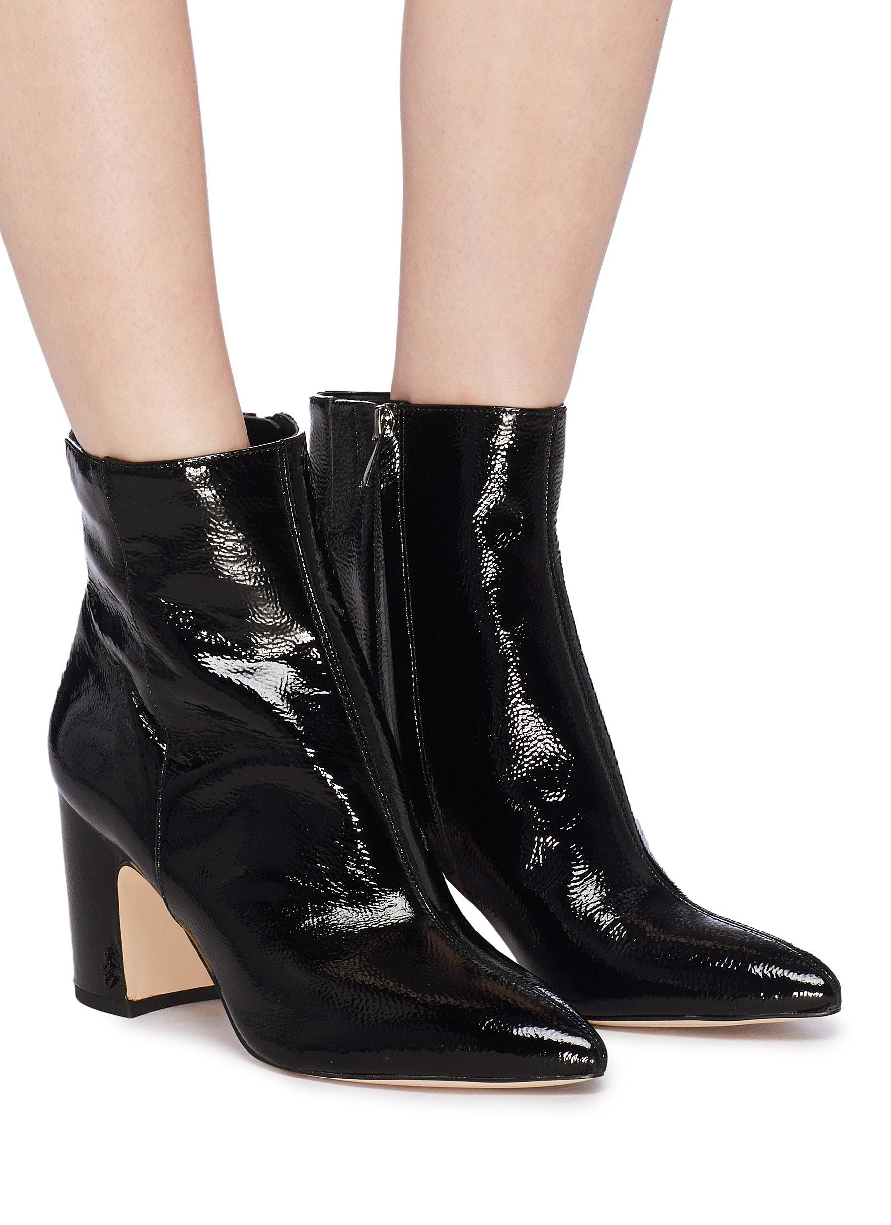 3aa75f77cf05 Sam Edelman  hilty  Crinkled Patent Leather Ankle Boots in Black - Lyst