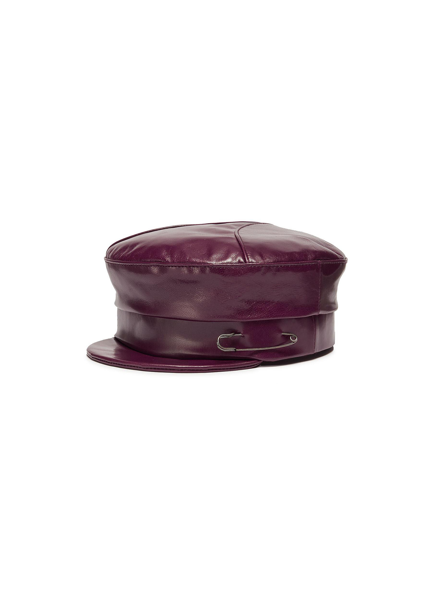 Lyst - Gigi Burris Millinery  georgie  Leather Newsboy Cap in Purple cac4d1863c03