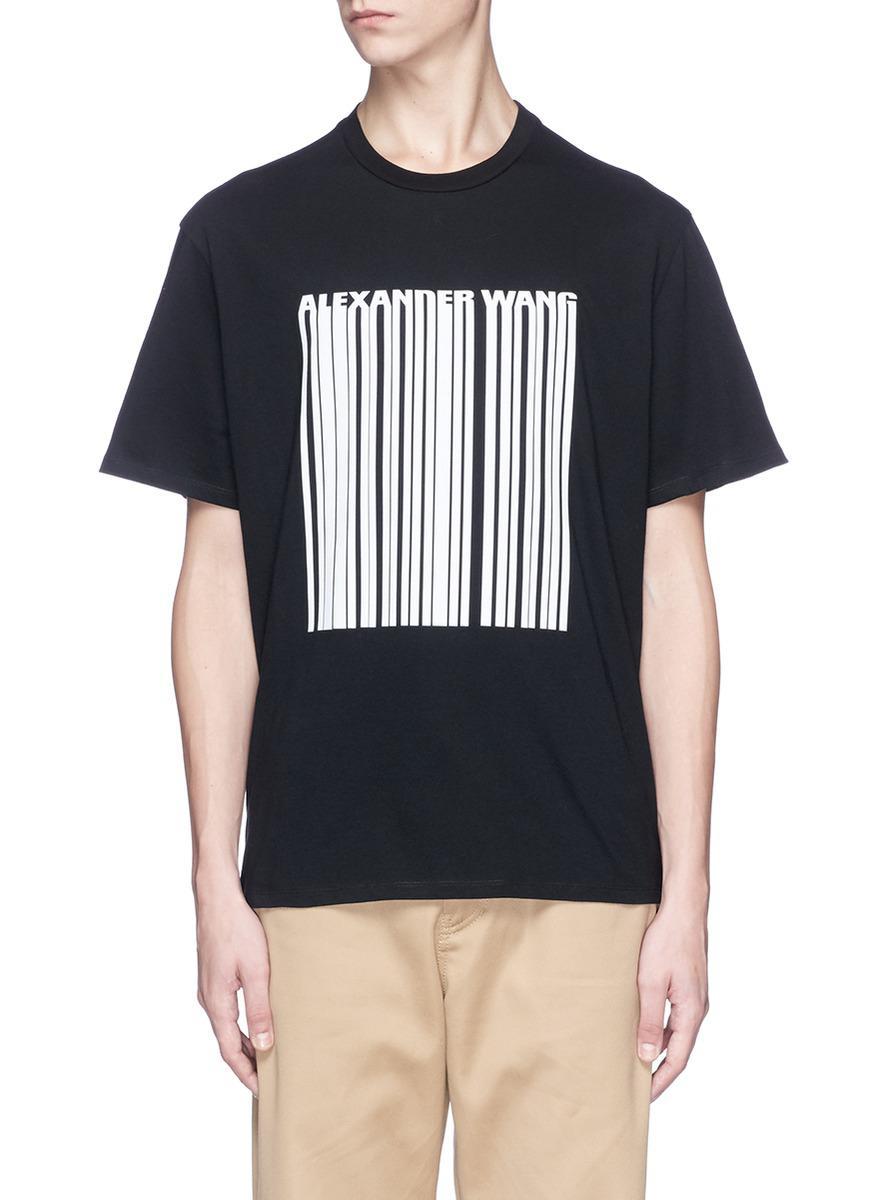 Alexander Wang Barcode Logo Print T Shirt In Black For Men