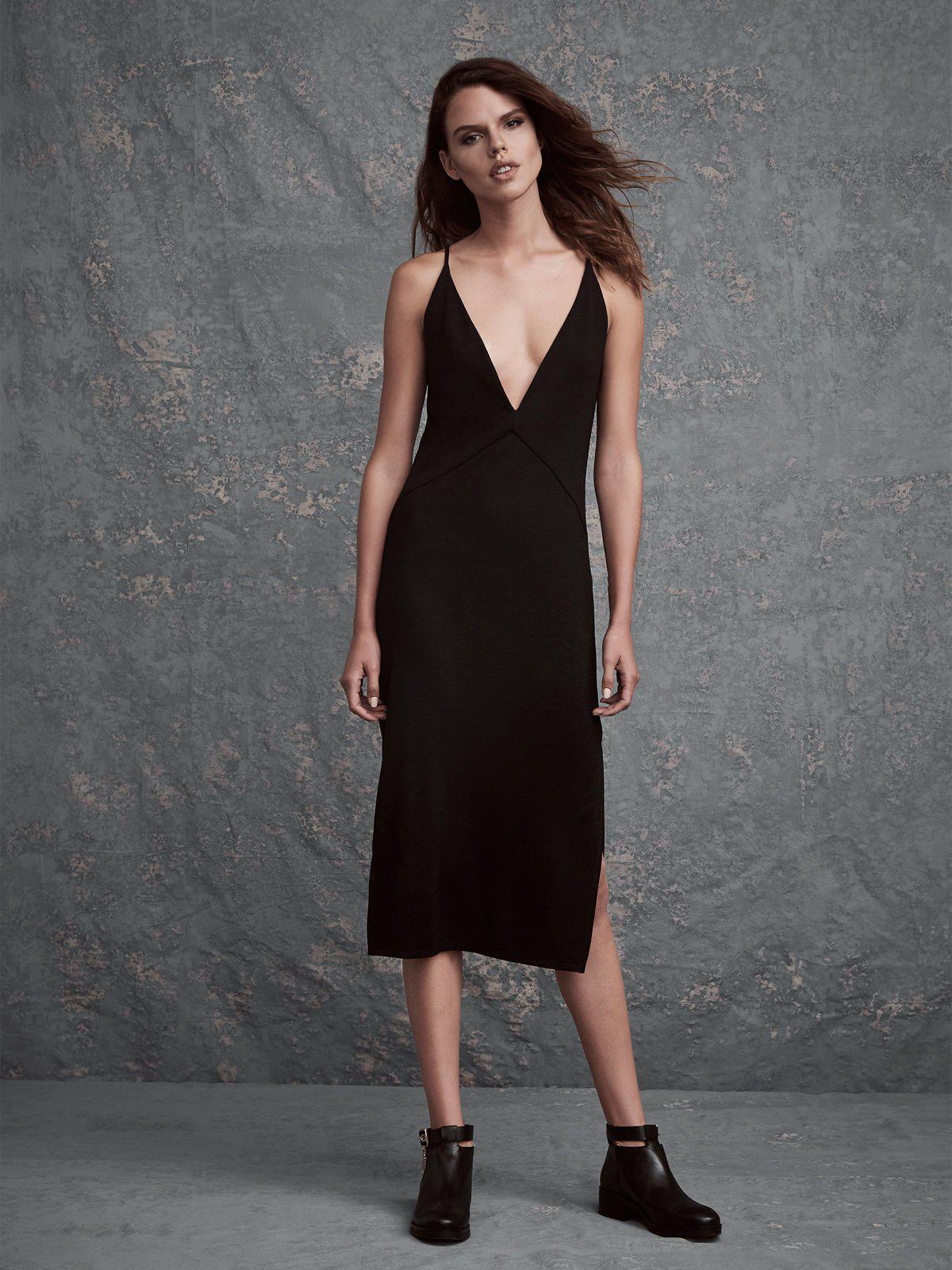 5673022da4d2d Lyst - Lanston Slit Cami Midi Dress in Black