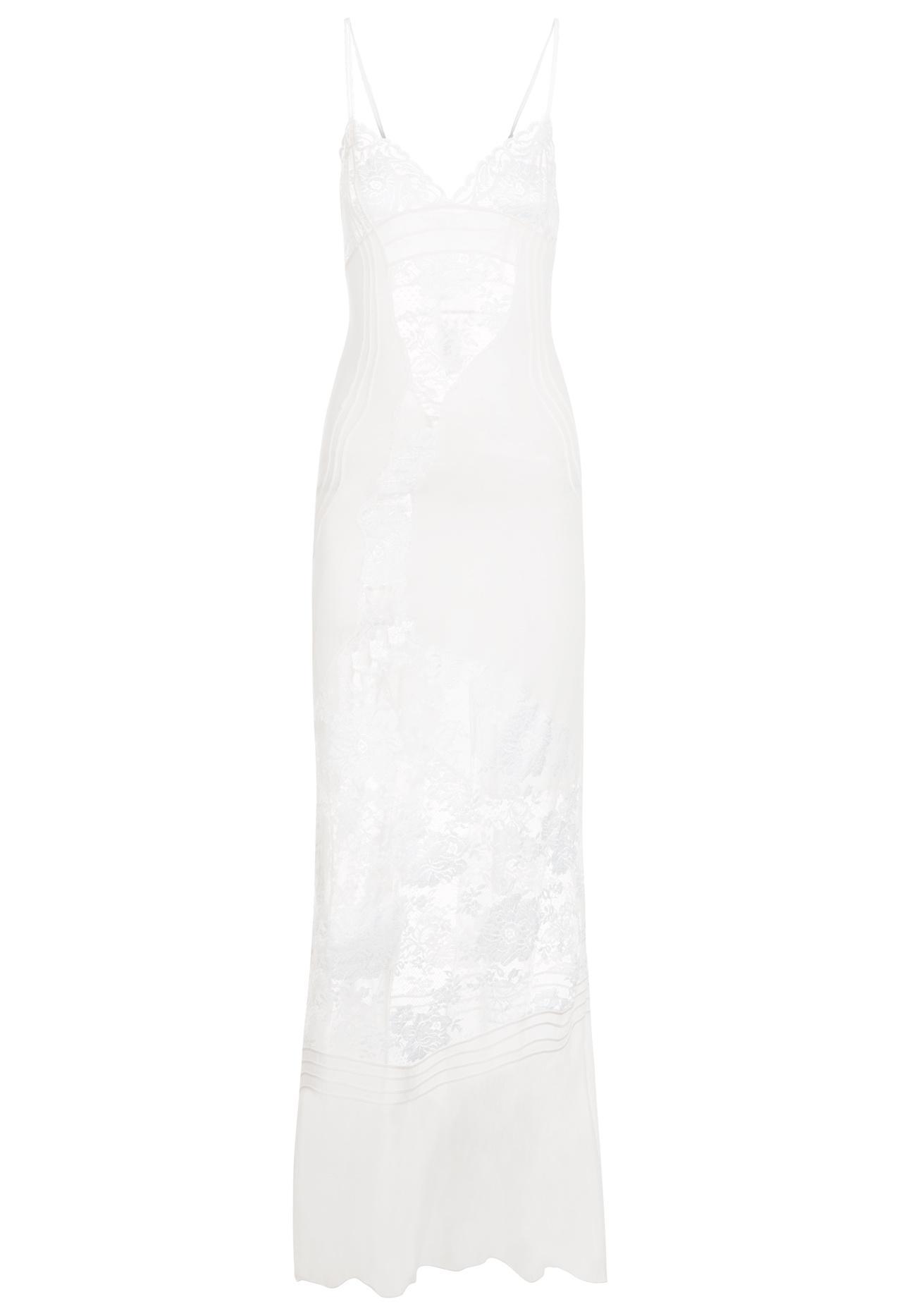 dd9a5f2e7931 Featured. La Perla   Off-white Silk Georgette And Leavers Lace Nightgown  With ...