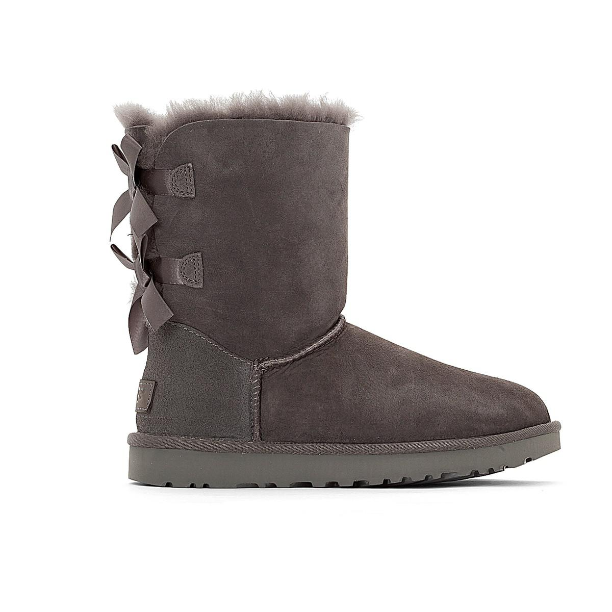 f3e966435a2 Lyst - Ugg Bailey Bow Sheepskin Short Boots in Gray