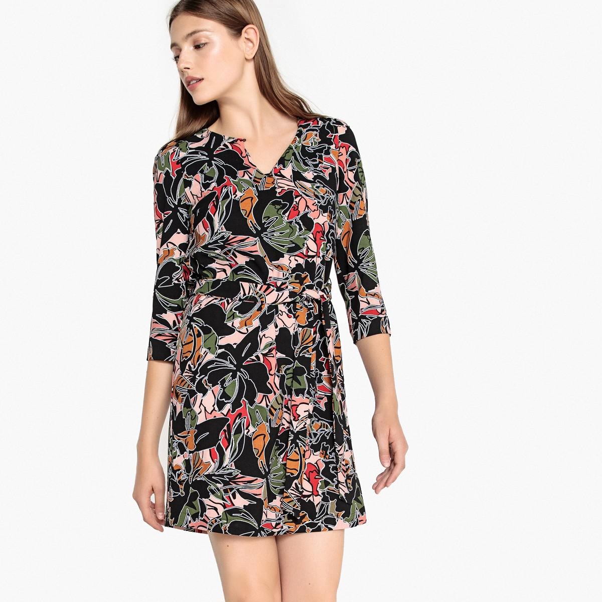 c0085e40d8 Lyst - Suncoo Candy Floral Print Dress With 3 4 Length Sleeves And ...