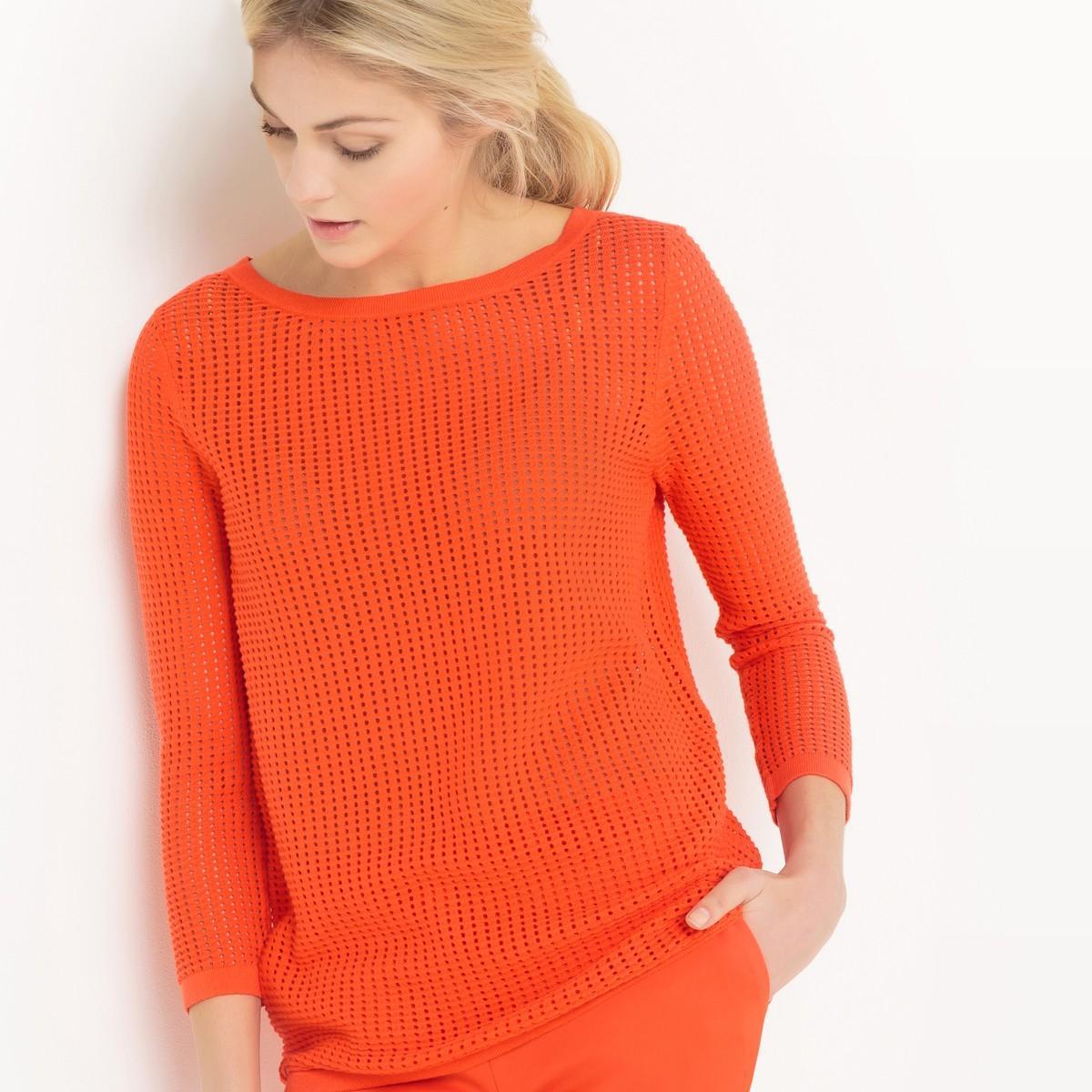 la redoute pull ajour col bateau in orange lyst. Black Bedroom Furniture Sets. Home Design Ideas