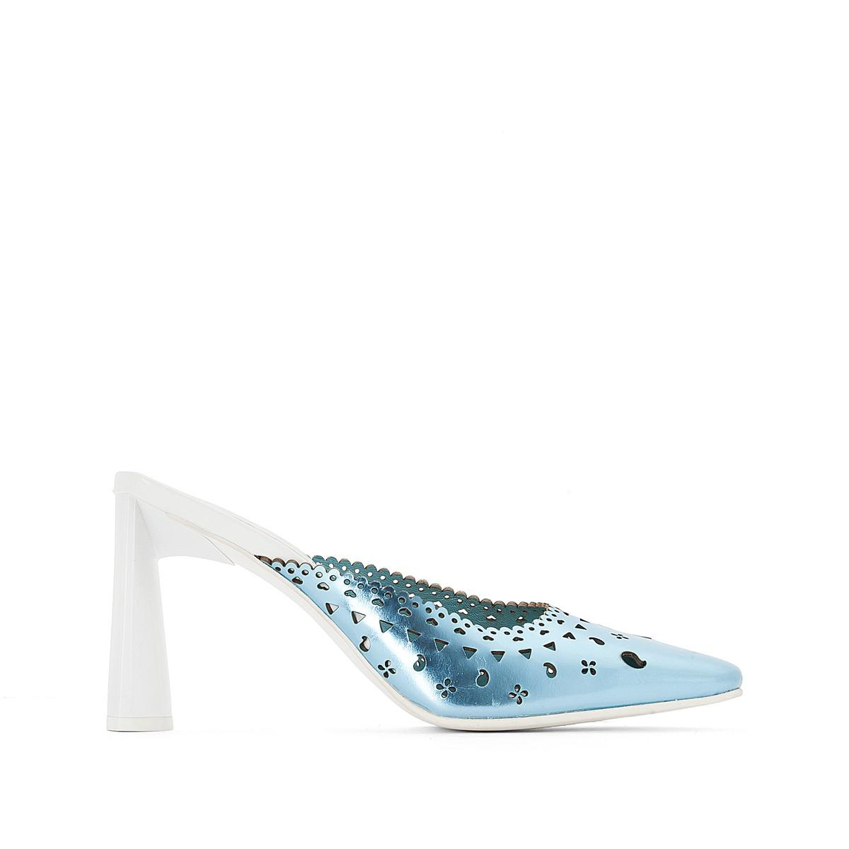 magasin d'usine dce6d a1ac6 Lyst - La Redoute High Heel Openwork Mules in Blue