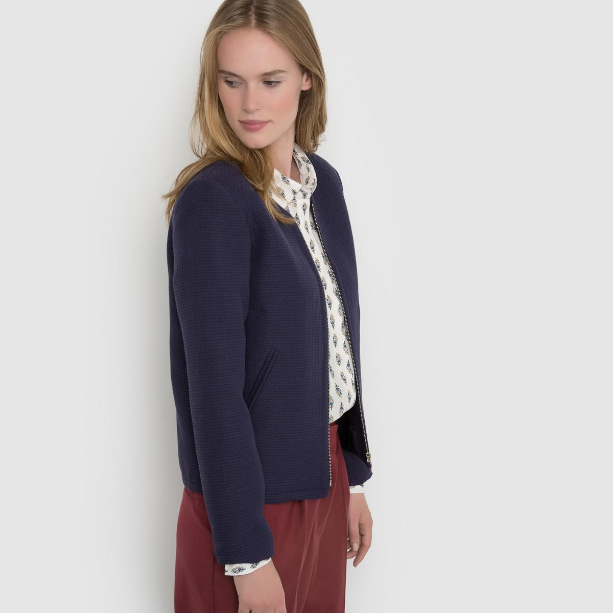 lyst la redoute cropped jacket made in france in blue. Black Bedroom Furniture Sets. Home Design Ideas