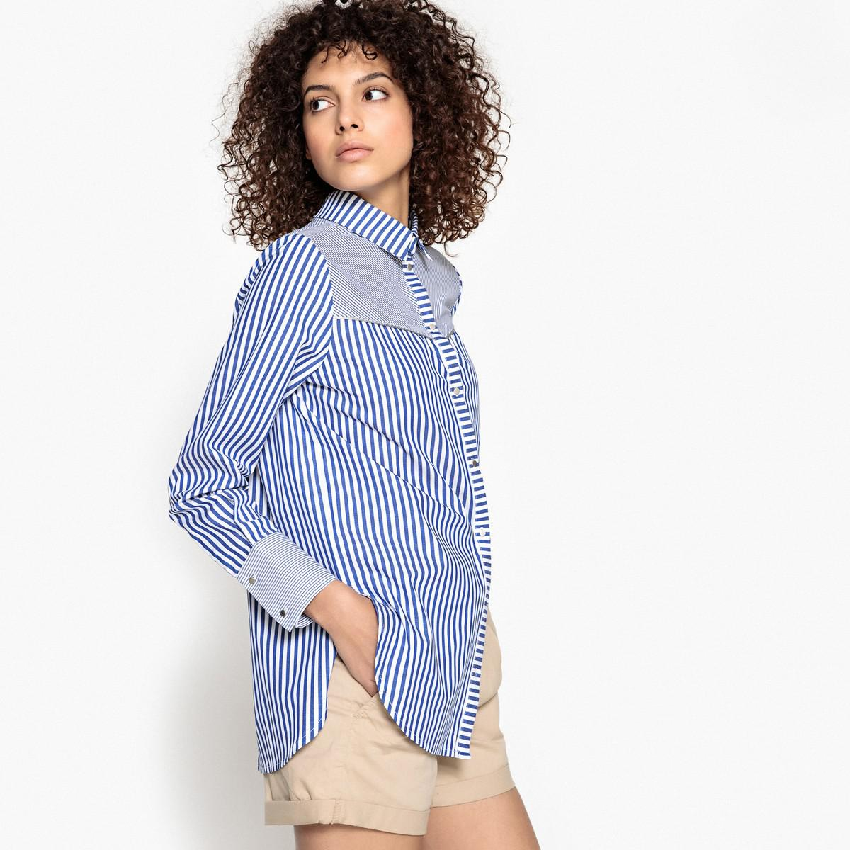 8d1f1ae56bb12 Lyst - Suncoo Laura Striped Open Back Shirt in Blue