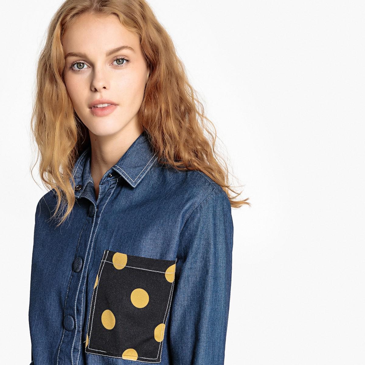 71551c4c0c3 Lyst - La Redoute Short Denim Shirt With Polka Dot Pocket in Blue