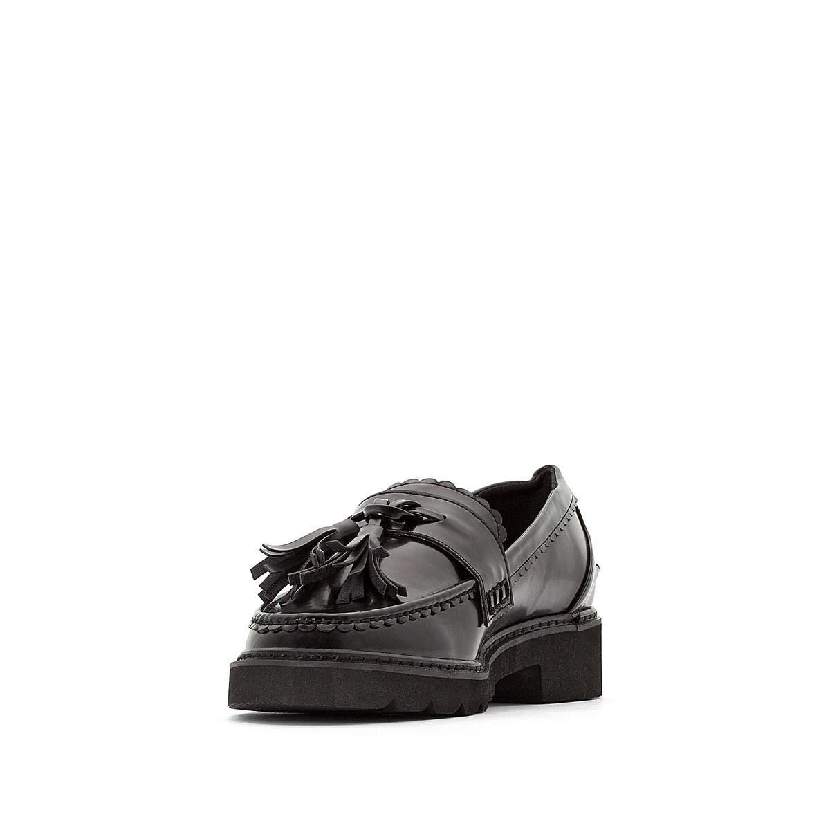 41dbaf65173 LA REDOUTE - Black Wedge Loafers With Tassel Trim - Lyst. View fullscreen