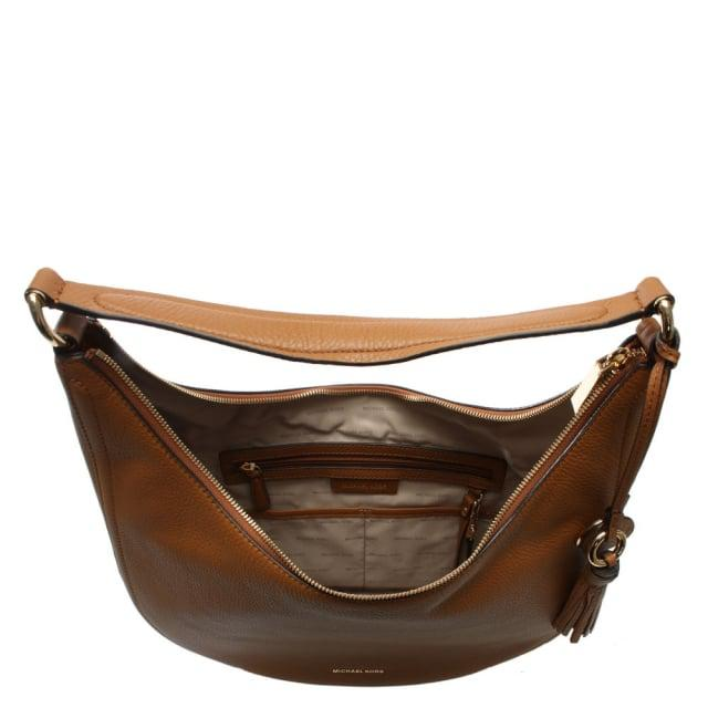 480cc9a93e78 Michael Kors Lydia Large Acorn Tumbled Leather Hobo Bag in Brown - Lyst