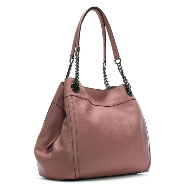 7f87f5952082 Lyst - COACH Turnlock Edie Dusty Rose Polished Pebbled Leather ...