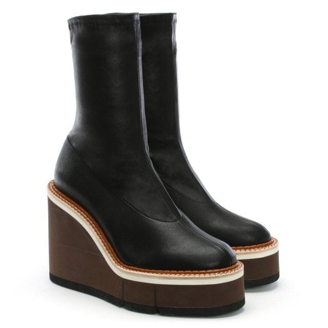 037e5cde3f88 Lyst - Clergerie Britt Black Leather Wedge Sock Boots in Black