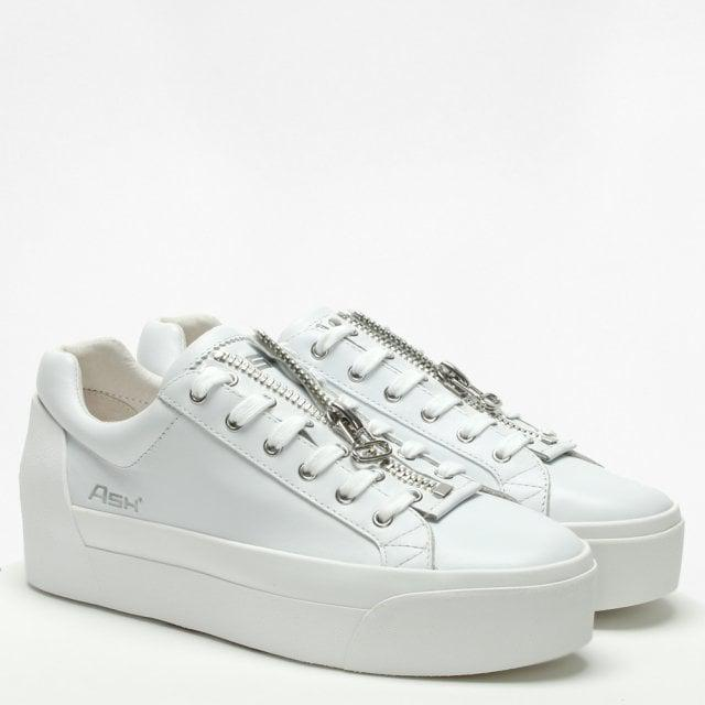 9b5a4e414a1b Lyst - Ash  buzz  Zip Leather Platform Sneakers in White