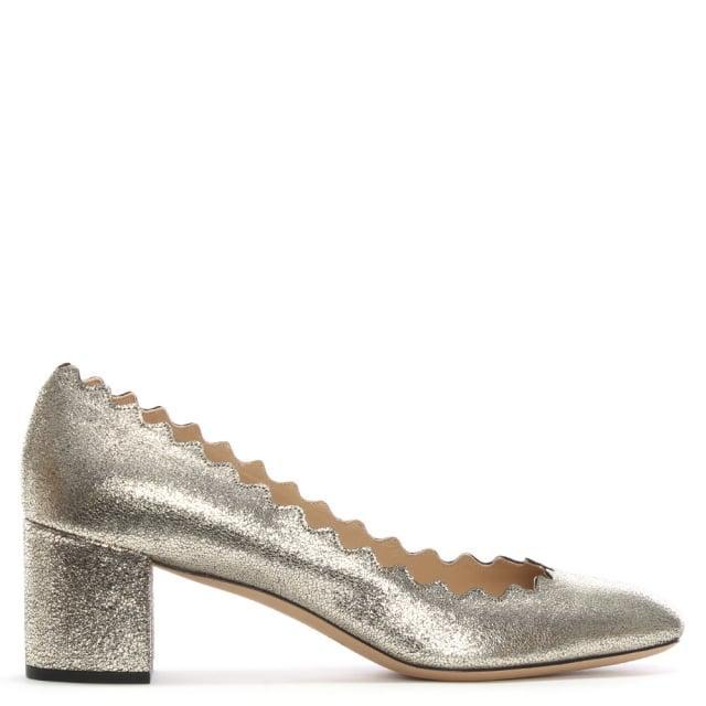 Chloé. Women's Metallic Chloe Lauren Grey Glitter Scalloped Edge Pumps