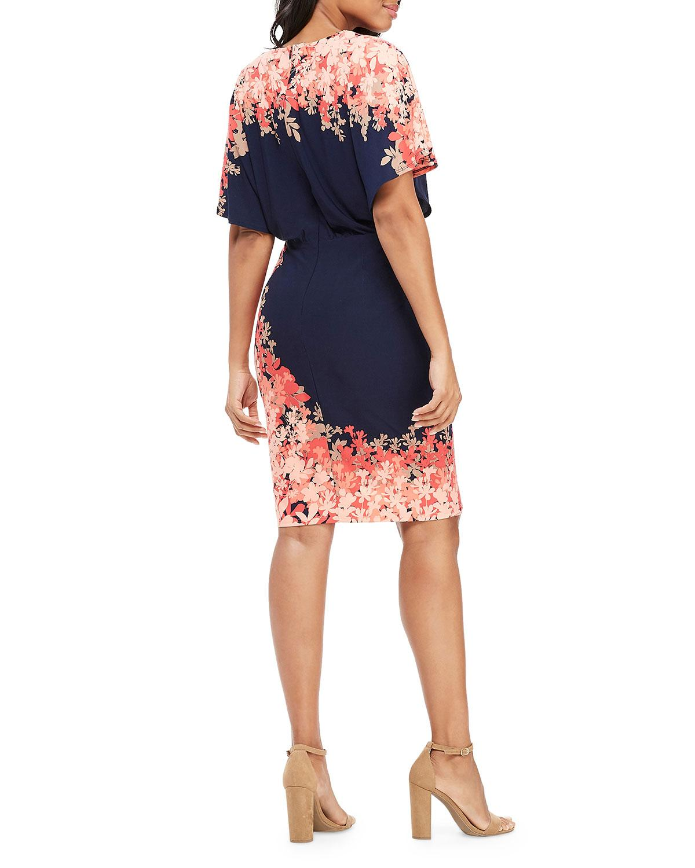 4f062b03 Lyst - Maggy London Wrapped Batwing-sleeve Wrap Sheath Dress in Blue