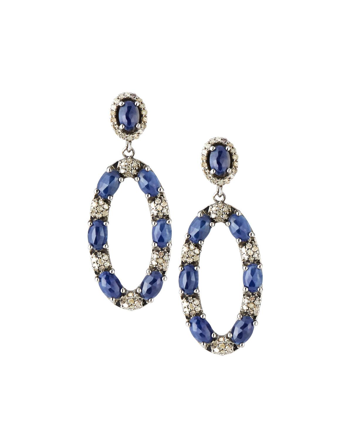 Bavna Diamond & Mixed Sapphire Drop Earrings Cx1nLk8v2