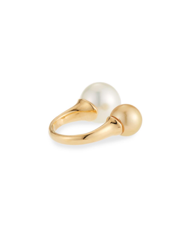 Belpearl 18k Split Double Pearl Ring, Size 6