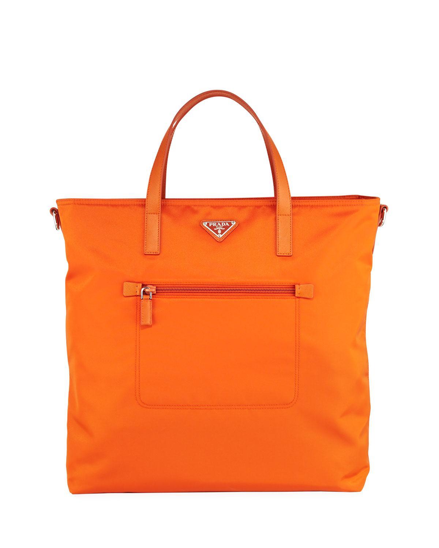 0a847eaf95ab Prada Donna Lady Nylon Shopper Tote Bag in Orange - Lyst