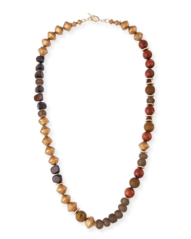 Akola Long Glass Metallic Necklace YHmJY