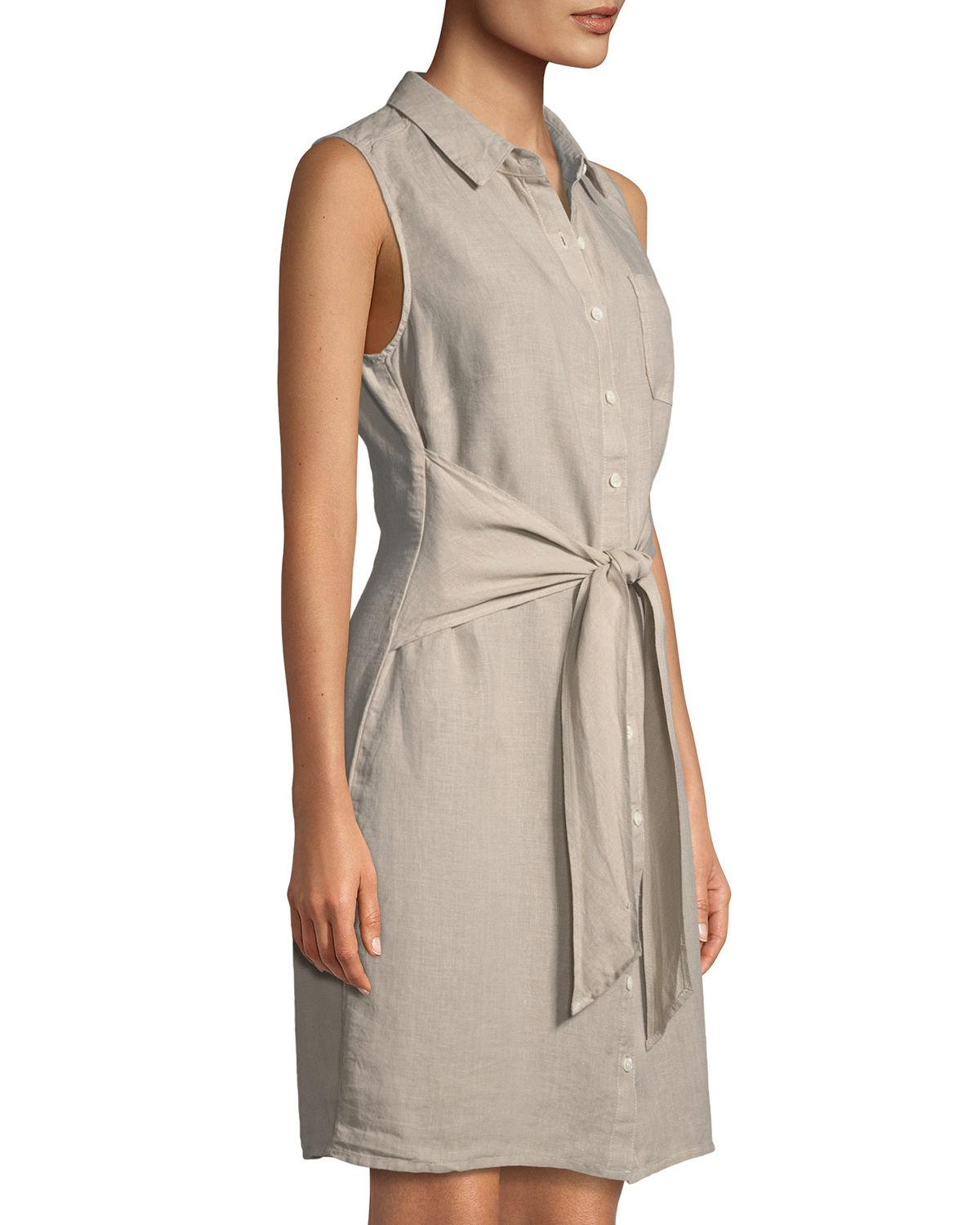 aac17c25ac3056 Lyst - Three Dots Sleeveless Tie-front Linen Shirtdress in Natural