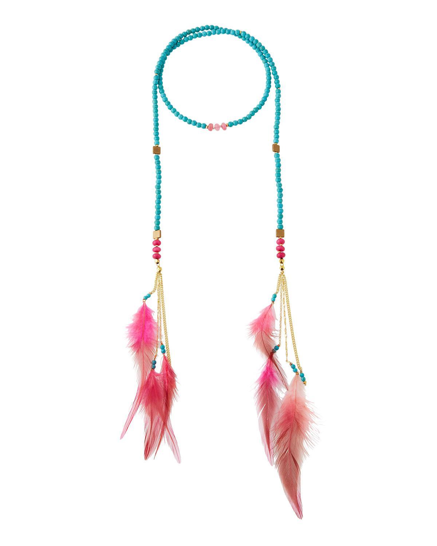 Nakamol Beaded Lariat Feather Necklace 9kmlio