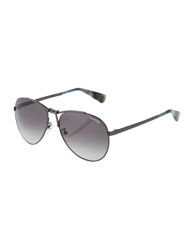ca84fd8b7b Lyst - Lanvin Metal Aviator Sunglasses in Gray for Men