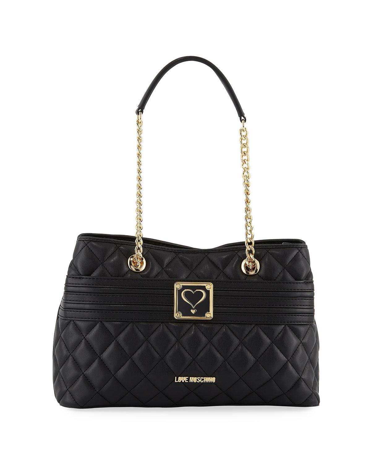 Love Moschino Napa Quilted Faux Satchel Bag, Black
