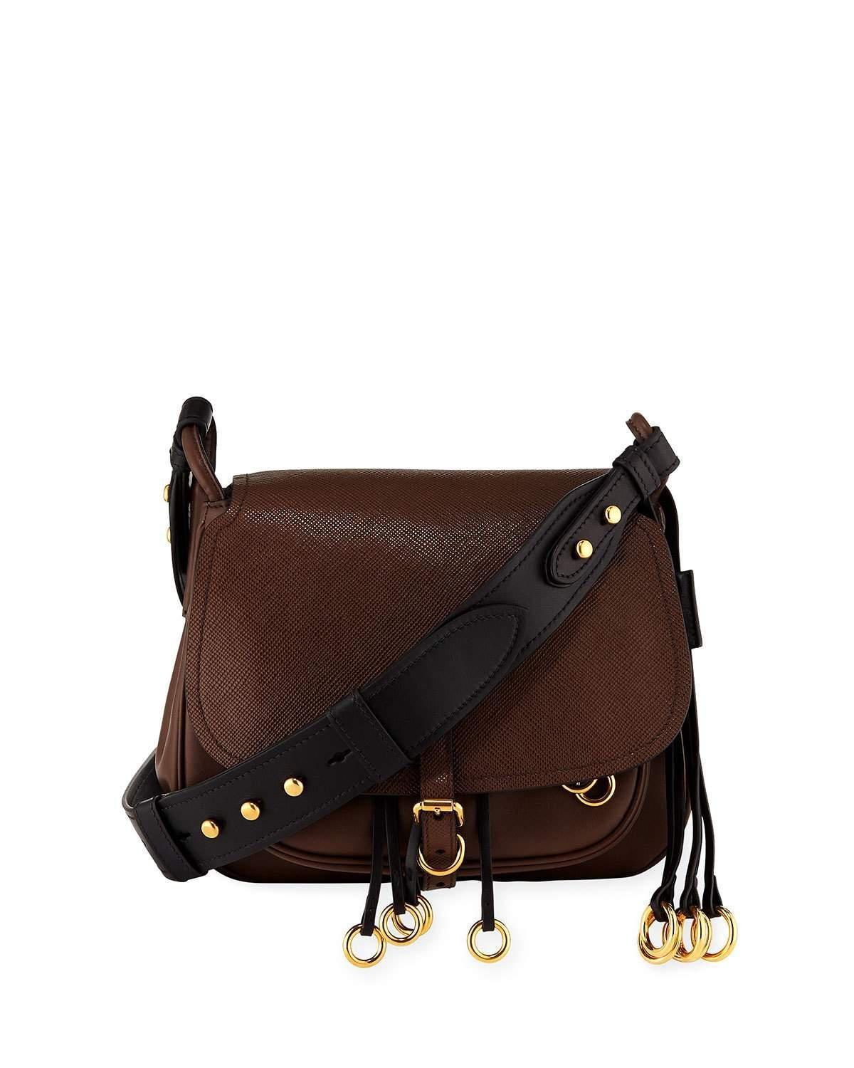 445144c9bb88 Lyst - Prada Saffiano Corsaire Hunting Shoulder Bag in Brown