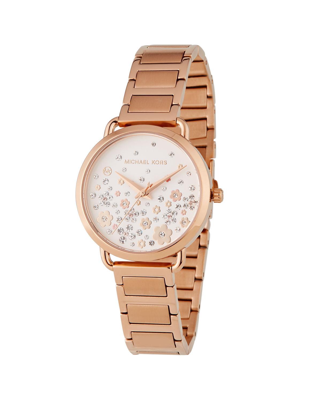 060c826ea719 MICHAEL Michael Kors. Women s Metallic 32mm Portia Crystal Flower Bracelet  Watch ...