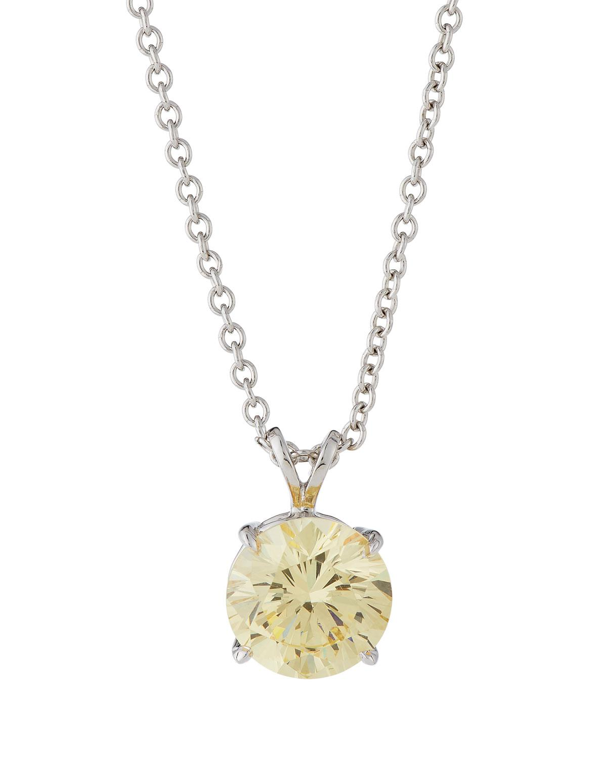 Fantasia Canary & White CZ Crystal Pendant Necklace qVmjXQd