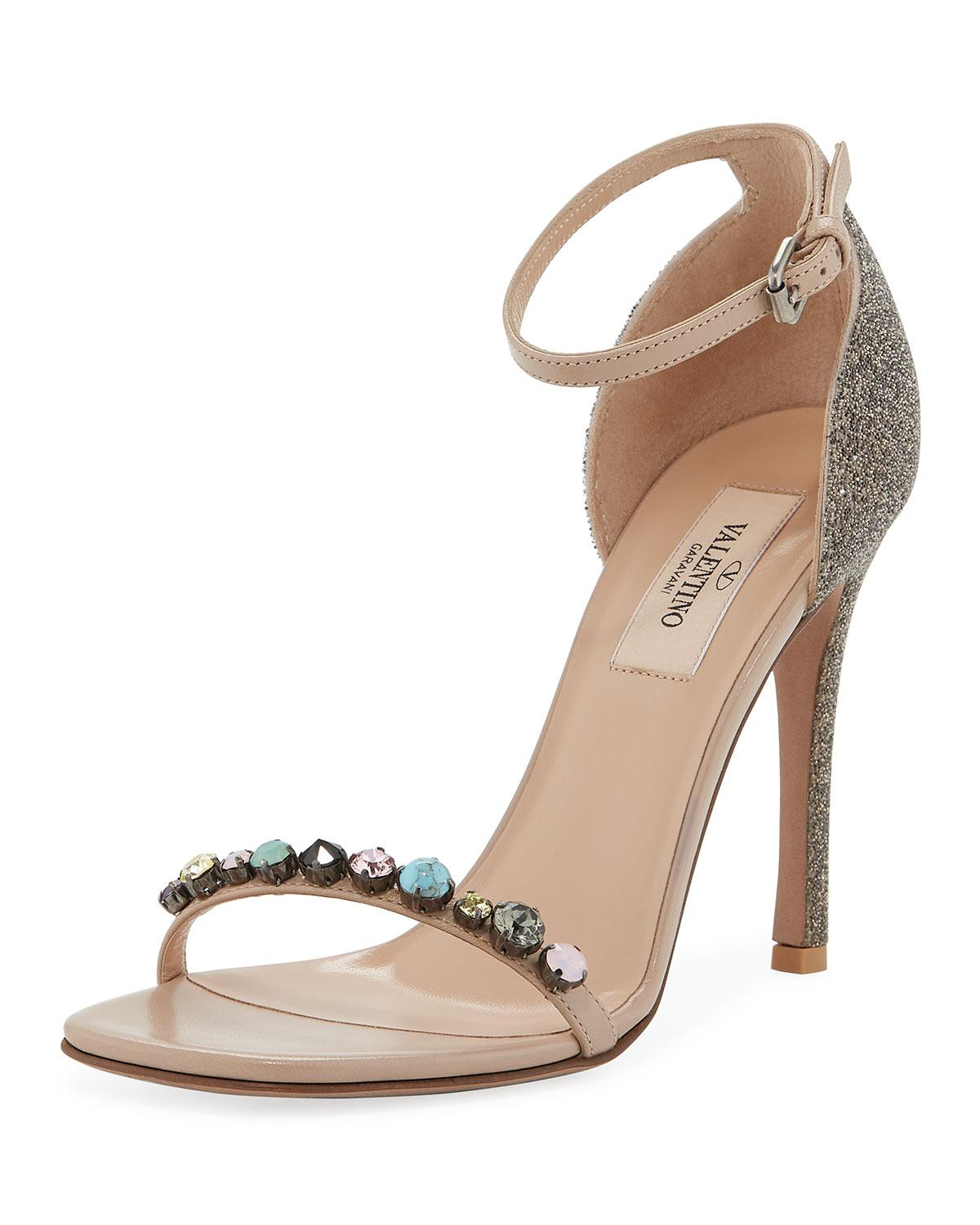 694ac0d1affde Lyst - Valentino Jeweled Leather Ankle-strap Sandals in Natural