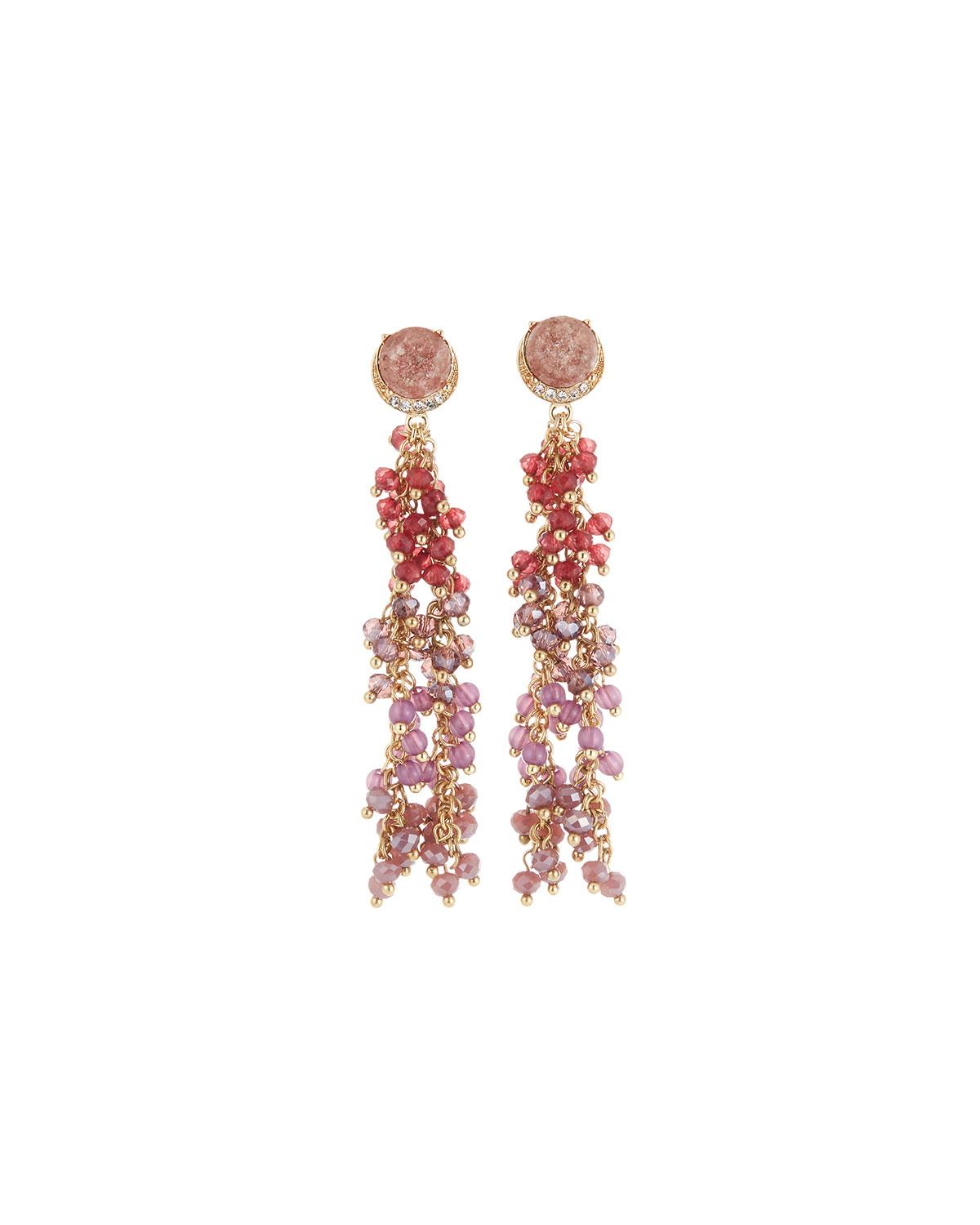Lydell Nyc Multihued Beaded Linear Drop Earrings GxIomU