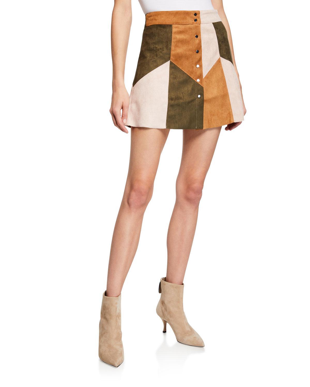 5bc7e9b7e Raga Becca Patchwork Faux-suede Mini Skirt - Lyst