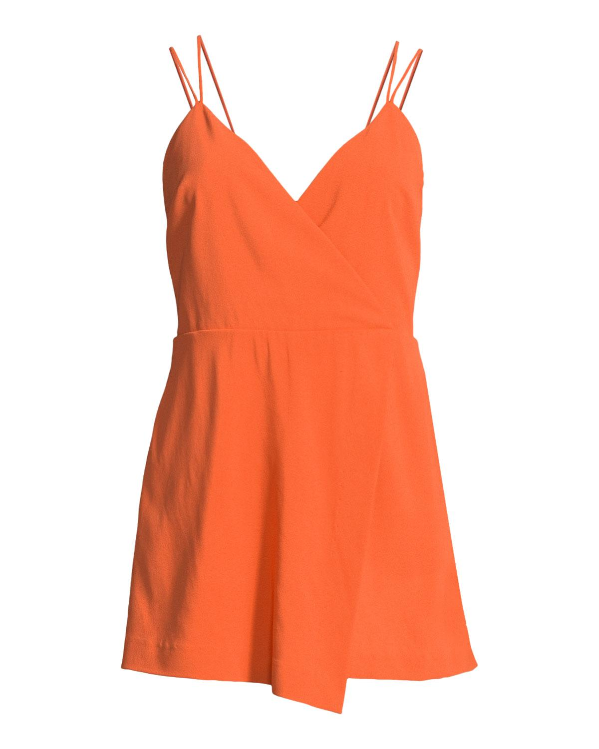 2ff16293d7 Alice + Olivia - Orange Emery Fitted Cross-front Romper - Lyst. View  fullscreen