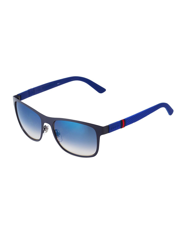 1eb004466b Lyst Gucci Two Tone Square Plastic Sungles W Arms In Blue