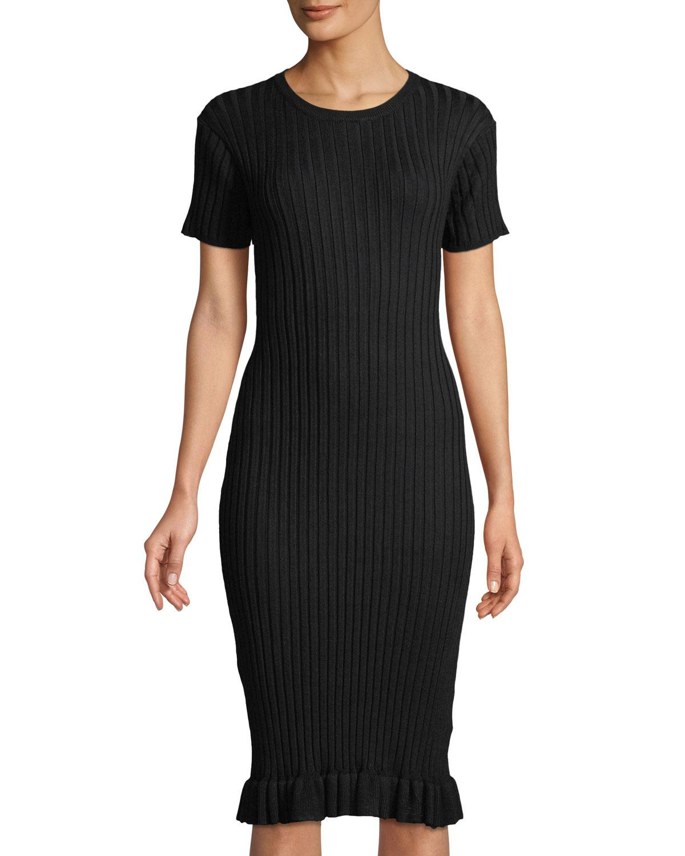 7f1ffc44b6d Lyst - John + Jenn Judith Ribbed Short-sleeve Dress in Black - Save 30%