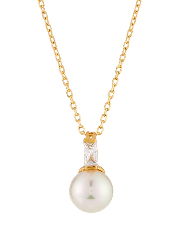 Majorica Manmade Pearl & Cubic Zirconia Halo Necklace u1VNm