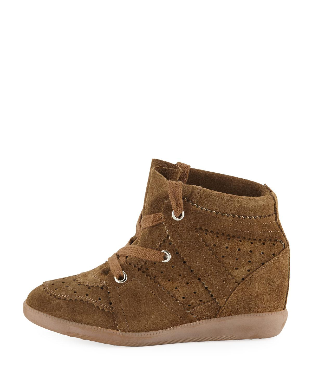 e3381d2331e Lyst - Isabel Marant The Bobby Suede Wedge Sneakers in Brown