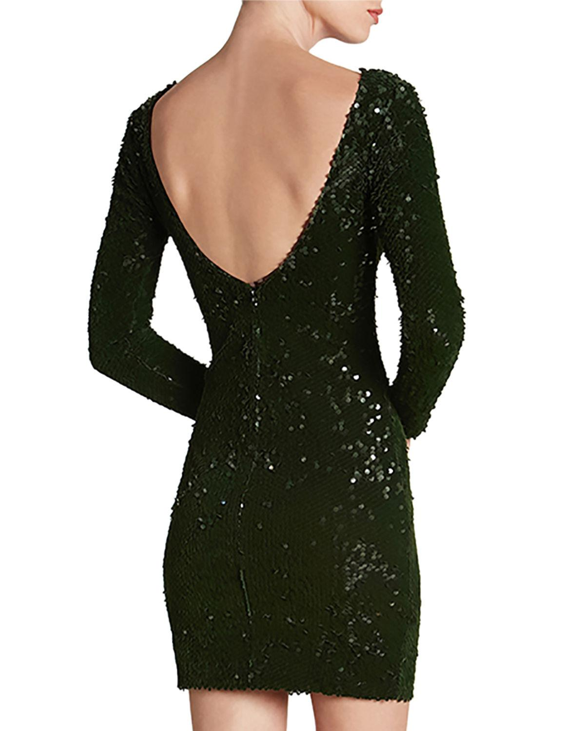 952f045d663 Lyst - Dress the Population Lola Long-sleeve Scoop-back Sequin Mini  Cocktail Dress in Green