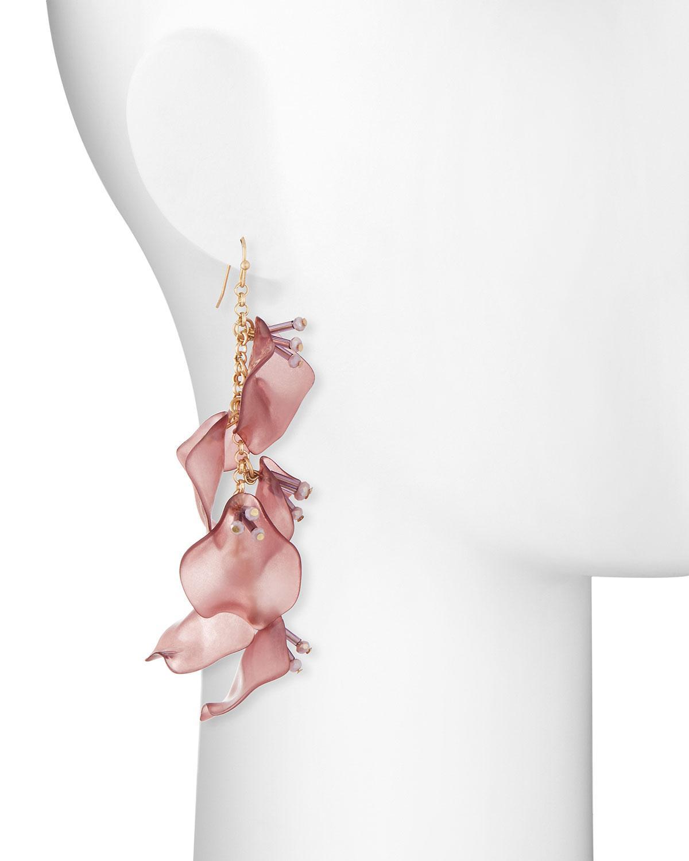 Lydell Nyc Linear Flower Drop Earrings, Yellow