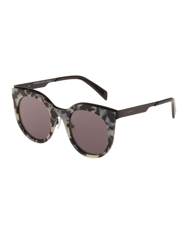 bf07e5e35d63 Lyst - Balmain Plastic Round Tortoiseshell Sunglasses in Brown