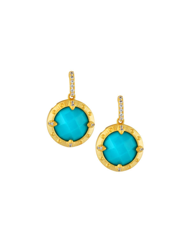 Freida Rothman Petite Circle Drop Earrings, Golden/Turquoise