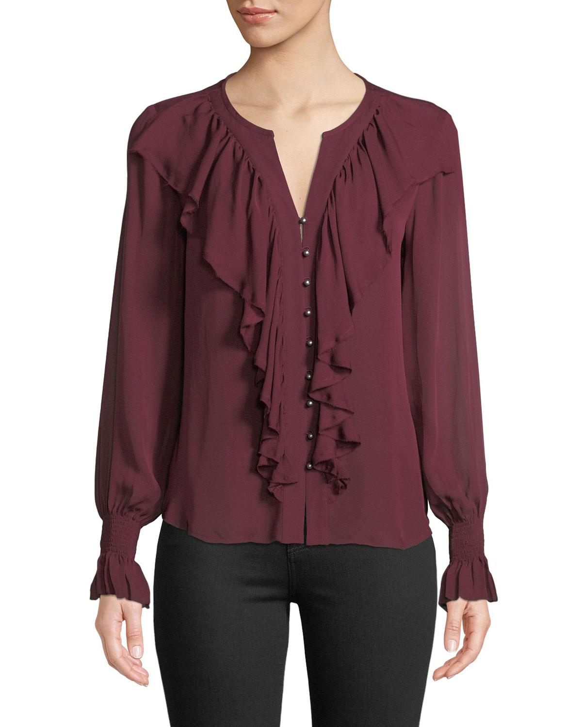 3b598d0c16509c Lyst - Go  By Go Silk Go Get Ruffled Up Silk Button-front Blouse in ...