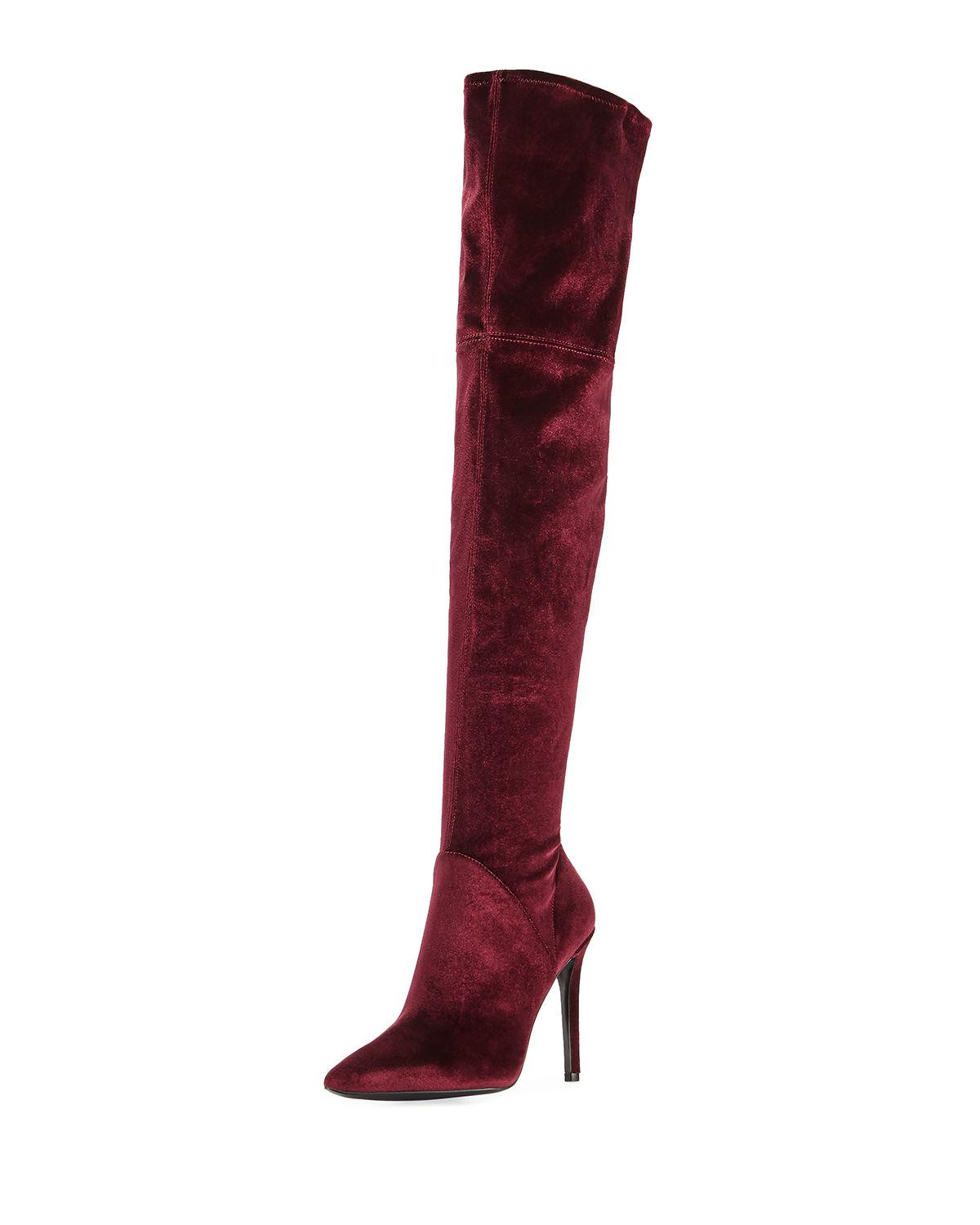 a6ece792303 Kendall + Kylie Ayla Velvet Over-the-knee Boot in Natural - Lyst