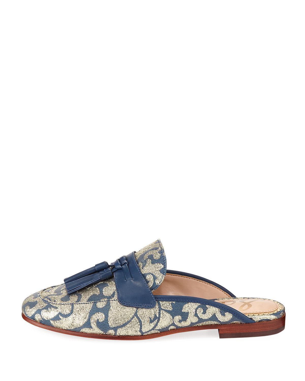 dfca1ff550743 Lyst - Sam Edelman Paris Jacquard Tassel Mule Loafer in Blue