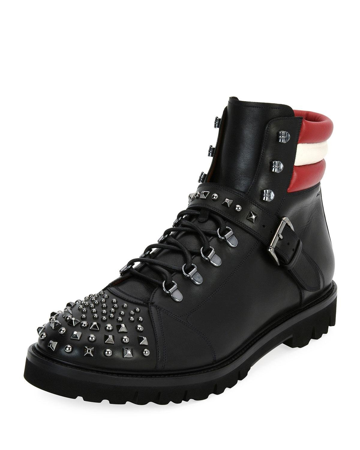 0772a8b0e04 Lyst - Bally Champions Studded Leather Hiking Boot in Black for Men