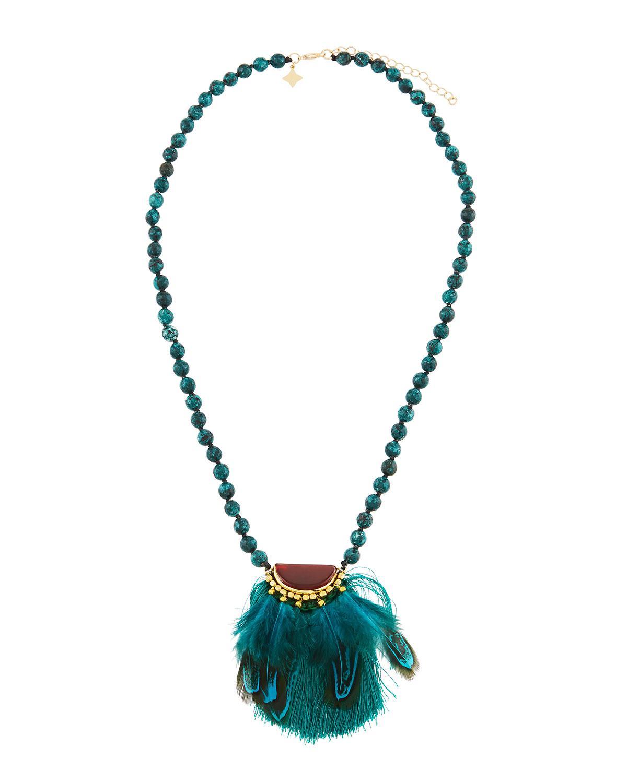 Panacea Stone & Feather Pendant Necklace o33E2hERrt